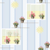 Seamless pattern with flowers in pots in windows on blue Stock Images