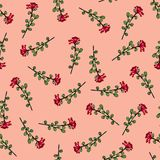 Seamless pattern of flowers. Print for fabric and other surfaces. Flowers drawn by hand. Abstract seamless pattern on pink stock illustration