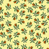 Seamless pattern of flowers. Print for fabric and other surfaces. Flowers drawn by hand. Abstract seamless pattern on a yellow stock illustration