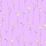 Seamless pattern with flowers. Purple background with stylized doodle roses. Royalty Free Stock Photos