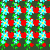 Seamless pattern of flowers and red berries Royalty Free Stock Image