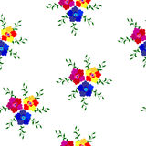 Seamless pattern of flowers in red, blue and yellow with leaves Stock Image