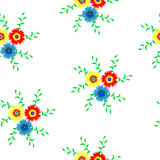 Seamless pattern of flowers in red, blue and yellow with leaves 2 Royalty Free Stock Image