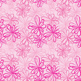 Seamless pattern with flowers and ribbons on pink background. Stock Photos