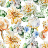 Seamless pattern with flowers. Rose.  Blossom. Iris. Watercolor. Royalty Free Stock Photo