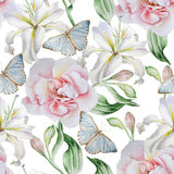 Seamless pattern with flowers. Rose. Lilia. Butterfly. Watercolor illustration. Seamless pattern with flowers. Rose. Lilia. Butterfly. Watercolor illustration Stock Photo