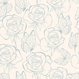 Seamless pattern with flowers roses and butterfly . Floral ornament. Hand-drawn contour lines and strokes. Retro background. Stock Photo
