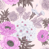 Seamless pattern with flowers roses, peonies, hydrangeas. Seamless pattern. Illustration of garden flowers of roses, peonies, hydrangeas, carnations. Floral Stock Images