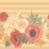Seamless pattern with flowers roses, peonies, hydrangeas. Seamless pattern. Illustration of garden flowers of roses, peonies, hydrangeas, carnations. Floral Royalty Free Stock Photo
