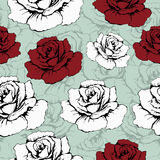 Seamless pattern of flowers roses. Red and white roses on a blue background with flowery patterns. Wallpaper, paper, wrapper, pack Stock Photos