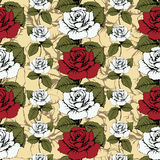 Seamless pattern of flowers roses. Red and white roses Woven, ornate. Yellow background with flowery patterns. Twisted buds, leave. S, stems. Wallpaper, wrapper Royalty Free Stock Images