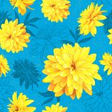 Seamless pattern summer flowers. Seamless pattern with flowers of Rudbeckia Laciniata, also called Golden Ball on a blue background with sequins. Hand drawn Royalty Free Stock Images