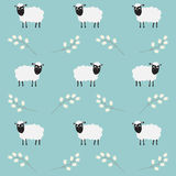 Seamless pattern with flowers and sheep Royalty Free Stock Image