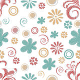 Seamless  pattern with flowers and spiral. Royalty Free Stock Image