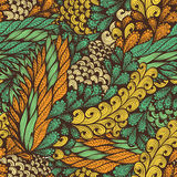 Seamless pattern with flowers and spirals Stock Images