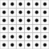 Seamless pattern with flowers in the squares. Squares of black dots. vector Stock Photos