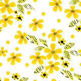 Seamless pattern with flowers on striped Stock Photo