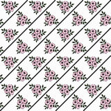 Seamless pattern with flowers  on a striped background Royalty Free Stock Images