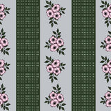 Seamless pattern with flowers  on a striped background. Seamless pattern with flowers roses on a striped background Stock Photo