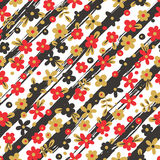 Seamless pattern with flowers on striped Stock Photos
