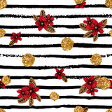 Seamless pattern with flowers, stripes and golden dots. Royalty Free Stock Photography