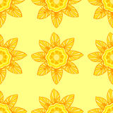 Seamless pattern with flowers in trendy yellow colors Royalty Free Stock Images
