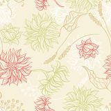 Seamless pattern with flowers. Vector background Royalty Free Stock Photos