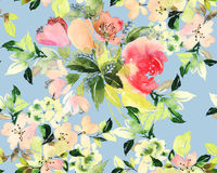 Seamless pattern with flowers watercolor. Gentle colors. Female Royalty Free Stock Photo