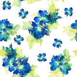Seamless pattern with flowers watercolor. Royalty Free Stock Photo