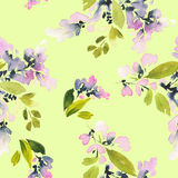 Seamless pattern with flowers watercolor. Royalty Free Stock Images