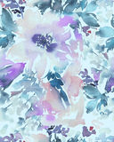 Seamless pattern with flowers watercolor. Stock Photo