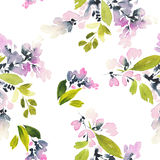 Seamless pattern with flowers watercolor. Royalty Free Stock Image
