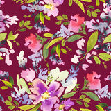 Seamless pattern with flowers watercolor. Stock Images