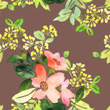 Seamless pattern with flowers watercolor. Stock Photography