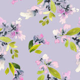 Seamless pattern with flowers watercolor. Royalty Free Stock Photography