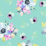 Seamless pattern with flowers watercolor. Gentle colors. Female pattern. Handmade Royalty Free Stock Photography