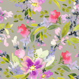 Seamless pattern with flowers watercolor. Gentle colors. Female pattern. Handmade Royalty Free Stock Photos