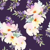 Seamless pattern with flowers watercolor. Vector Illustration