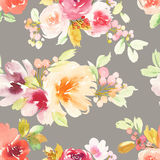 Seamless pattern with flowers watercolor Royalty Free Stock Images