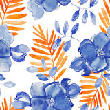 Seamless pattern with flowers watercolor. Gentle colors. Stock Photos