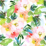 Seamless pattern with flowers watercolor stock illustration