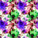 Seamless pattern with flowers. Watercolor illustration Stock Photos