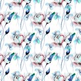 Seamless pattern with flowers. Watercolor illustration Stock Images
