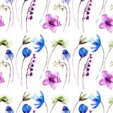Seamless pattern with flowers. Watercolor illustration, Hand painted drawing Royalty Free Stock Photo