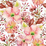 Seamless pattern with flowers. Watercolor illustration. Royalty Free Stock Photography