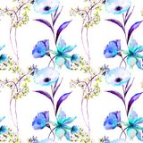 Seamless pattern with flowers. Watercolor illustration, Tile for wallpaper or fabric Royalty Free Stock Photos