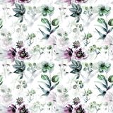 Seamless pattern with flowers. Watercolor painting Royalty Free Stock Image