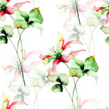 Seamless pattern with flowers. Watercolour illustration Stock Photo