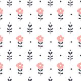 Seamless pattern with flowers. Vector floral background. Royalty Free Stock Photography