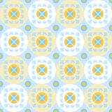 Seamless pattern with flowers in white and yellow circles. Stock Image